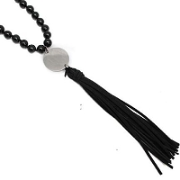 Engraved Black Stone and Suede Tassel Necklace