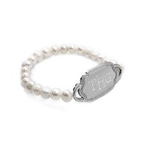 Pearl Bead Stretch Bracelet Engraved