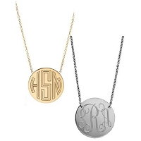 Monogram Gold or Silver Circle Necklace