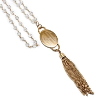 Engraved Oval Pendant Crystal Chain With Tassel