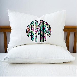 Lilly Pattern Monogrammed Bed Pillow