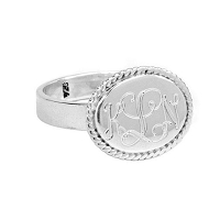 Engraved Monogram Sterling Silver Oval Ring