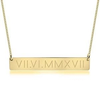 Roman Numeral Bar Necklace