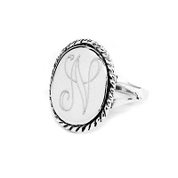 Sterling Silver Oval Engraved Ring
