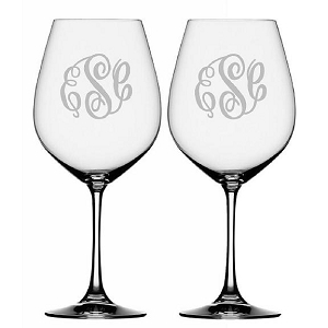 Monogrammed Wine Glass Set of 2